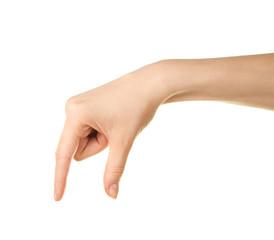 Female caucasian hand gesture isolated