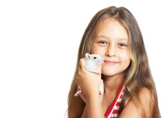 beautiful little girl holding a pet rat
