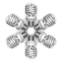 White spiral light bulbs lying radially