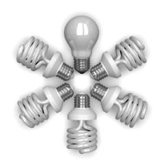 White tungsten light bulb among spiral ones lying