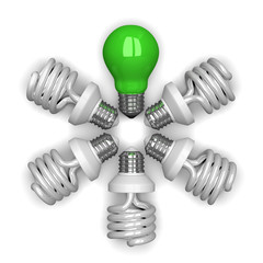 Green tungsten light bulb among white spira