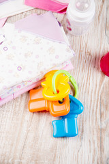 baby bottle and baby clothing