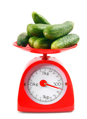 Cucumbers on scales.