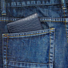 Wallet in a back pocket of a jeans