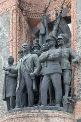 Sculptures on the Republic Monument at Taksim Square in Istanbul