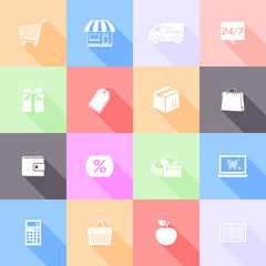 Vector set of shopping flat icons with long shadow