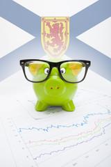 Piggy bank with Canadian province flag - Nova Scotia