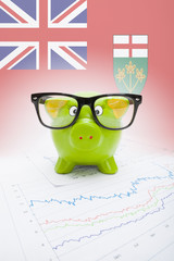 Piggy bank with Canadian province flag - Ontario