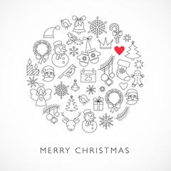 Christmas ball - black and white line icons