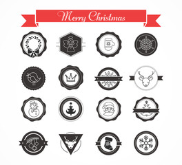 Set of labels, designs, stickers and elements for Christmas