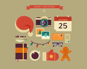 Christmas Santa's desktop flat vector design with elements