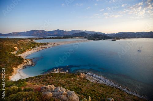 Leinwanddruck Bild Aerial view of Villasimius beach, Sardinia, Italy