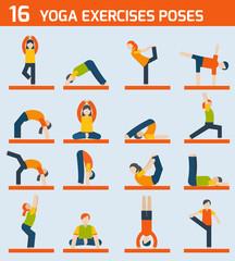 Yoga exercises icons