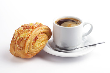 Sweet bun with cheese and coffee
