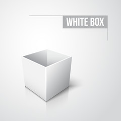 Empty white box with shadow and reflection