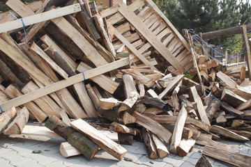 firewood in a pile, preparing wood for winter