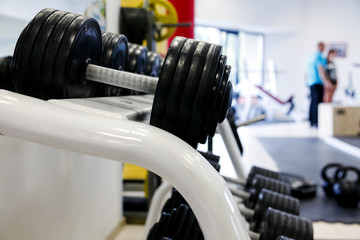 Dumbells in a gym