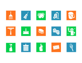 Cleaning tools icon set