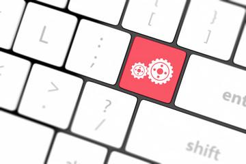 cogwheel gear mechanism on button
