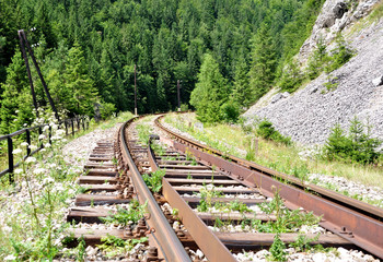 View of railroad tracks in the country, Slovakia, Europe
