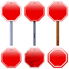 Blank red road stop signs