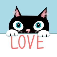 Portrait of a cat with the word love