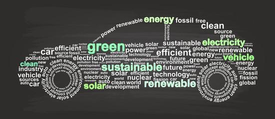 Clean Energy Car Word Cloud Sketch On Blackboard