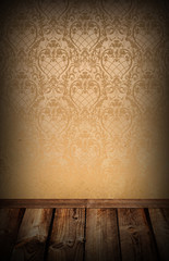 Vintage background.The wall and wooden floor.