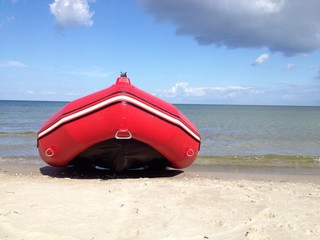 bright red rubber boat