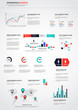 Flat infographics set. World Map and Information Graphics