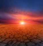 cracked earth and sunset