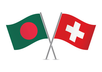 Switzerland and Bangladesh flags. Vector illustration.