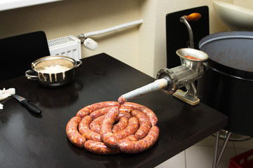 Making of homemade sausages