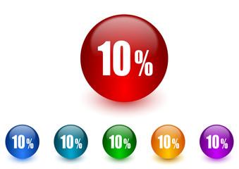 10 percent internet icons colorful set