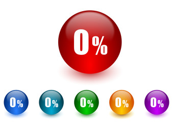 0 percent internet icons colorful set
