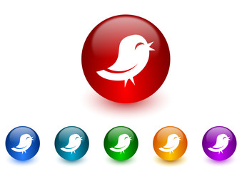 twitter internet icons colorful set