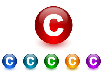 copyright internet icons colorful set