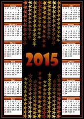 Calendar 2015 with star background