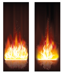 Fire flame banners. vector illustration