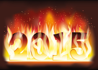 New 2015 Year fire flame card, vector illustration