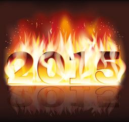 Happy New 2015 fire flame year, vector illustration