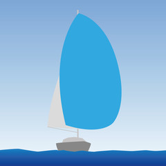 vector illustration of yachts on a calm sea