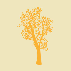 Vector illustration silhouette of a deciduous tree