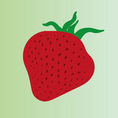 Vector drawing of red ripe strawberry