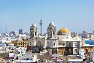 view of Cadiz Cathedral domes, Spain