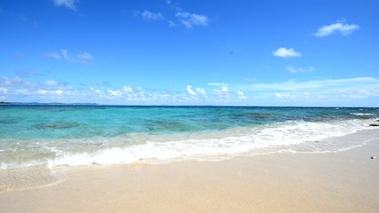砂浜に打ち寄せる輝く波