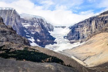 Landscape view of Columbia glacier in Jasper NP, Canadian Rockie