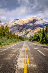 Landscape view of the road on Icefields parkway in Canadian Rock
