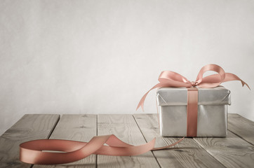 Silver Gift Box and bow with Vintage Effect