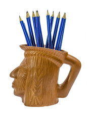 Blue pencils in Indian cup